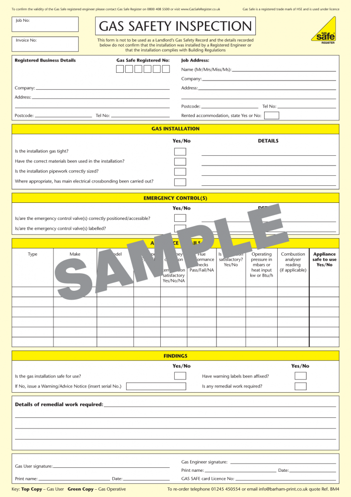 Gas Safety Inspection Report Gas Safety Inspection Gas Safe