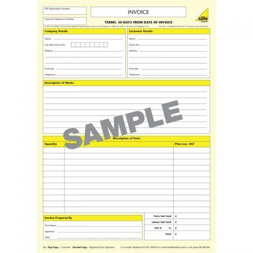 Invoice Gas Safe Pad – BM307